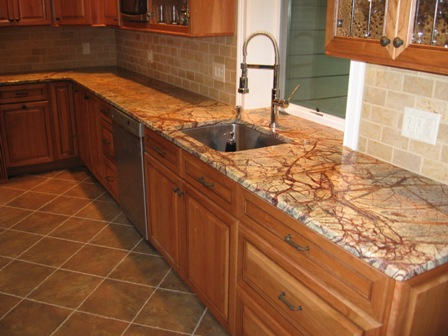 Es Countertops Marble Rainforest Brown Kitchen