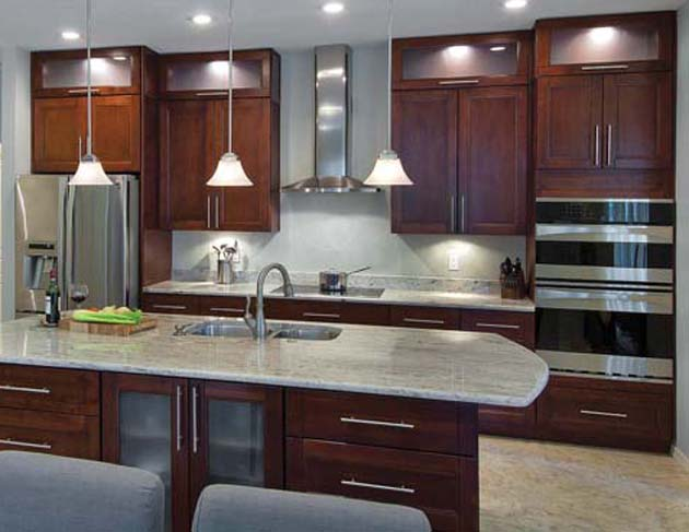 Es countertops residential jobs for Cherry and white kitchen cabinets