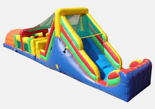 52' Rainbow Double Lane Obstacle Course Bounce House Waterslide WET or DRY image - Jacksonville, FL