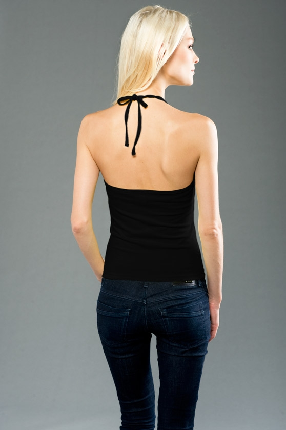 Cotton spandex jersey halter top made in usa screen printed for Custom t shirts manchester ct