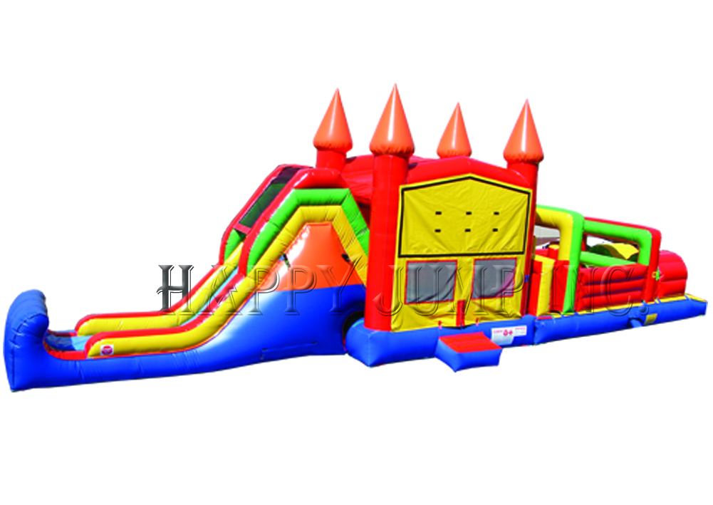 53' Candy Land Obstacle  Course Combo Bounce House Waterslide WET or DRY image - Jacksonville, FL