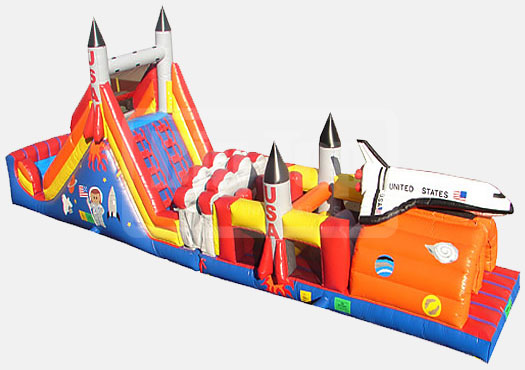 52' Rocket  Double Lane Obstacle Course Bounce House Waterslide WET or DRY image - Jacksonville, FL