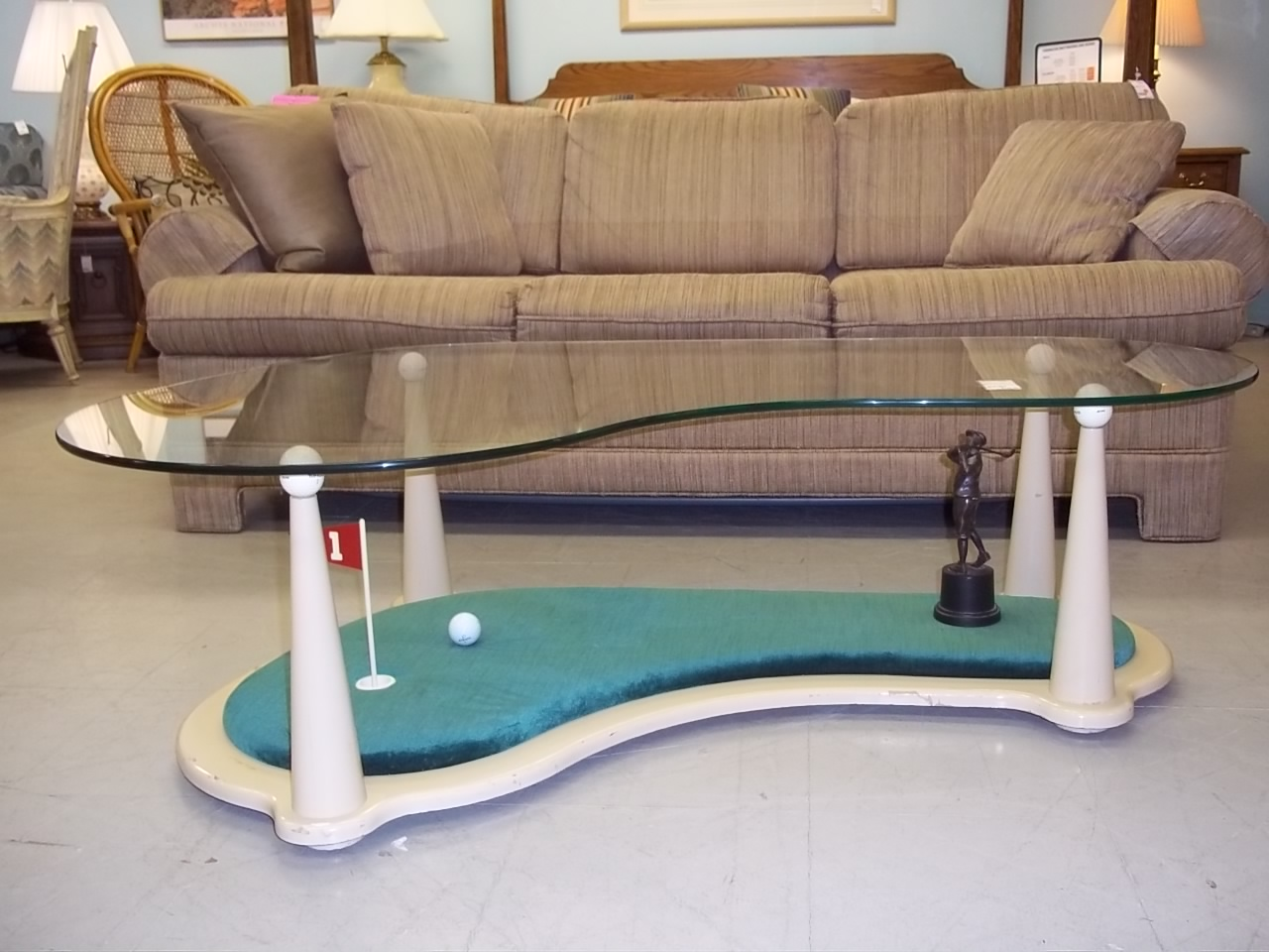 P 1 11081 glass top golf coffee table for Golf coffee table