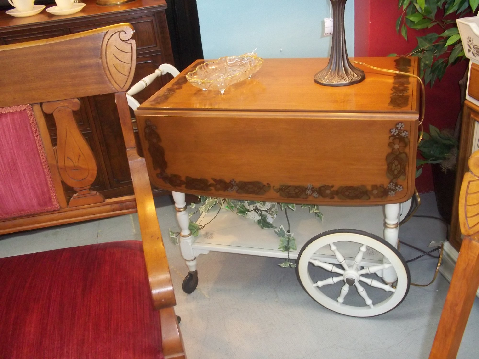 0 213 Ethan Allen Maple And Birch Tea Cart Org 428