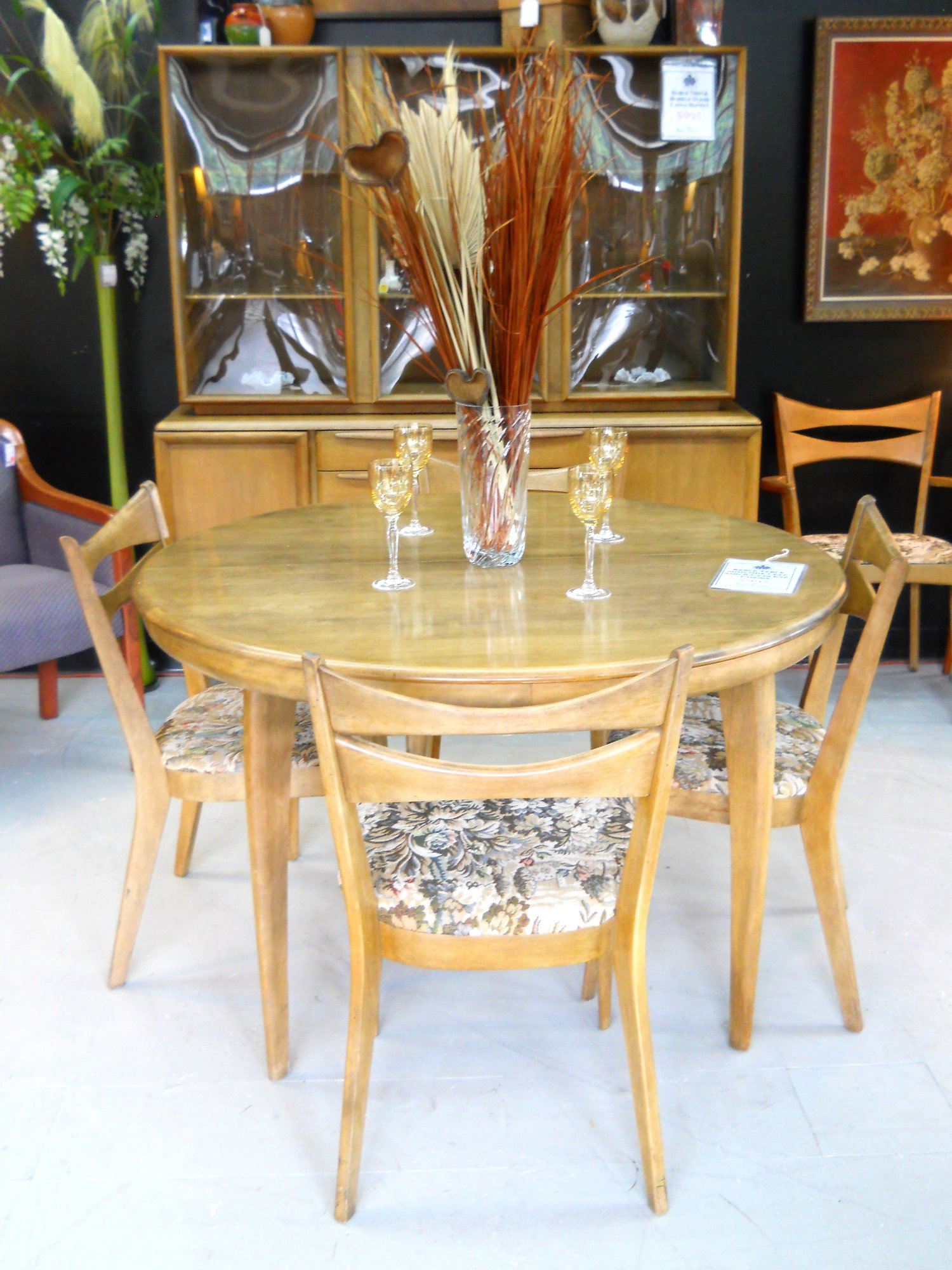1 12385 Mid Century Heywood Wakefield Sable Table With 5