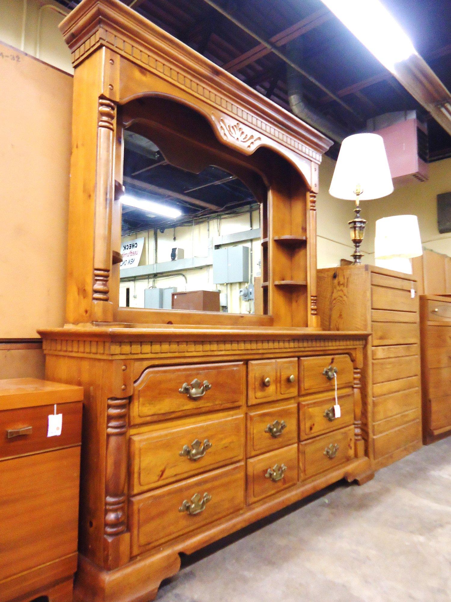 1 14036 Basset Pine Dresser With Hutch Amp Mirror Is Sold