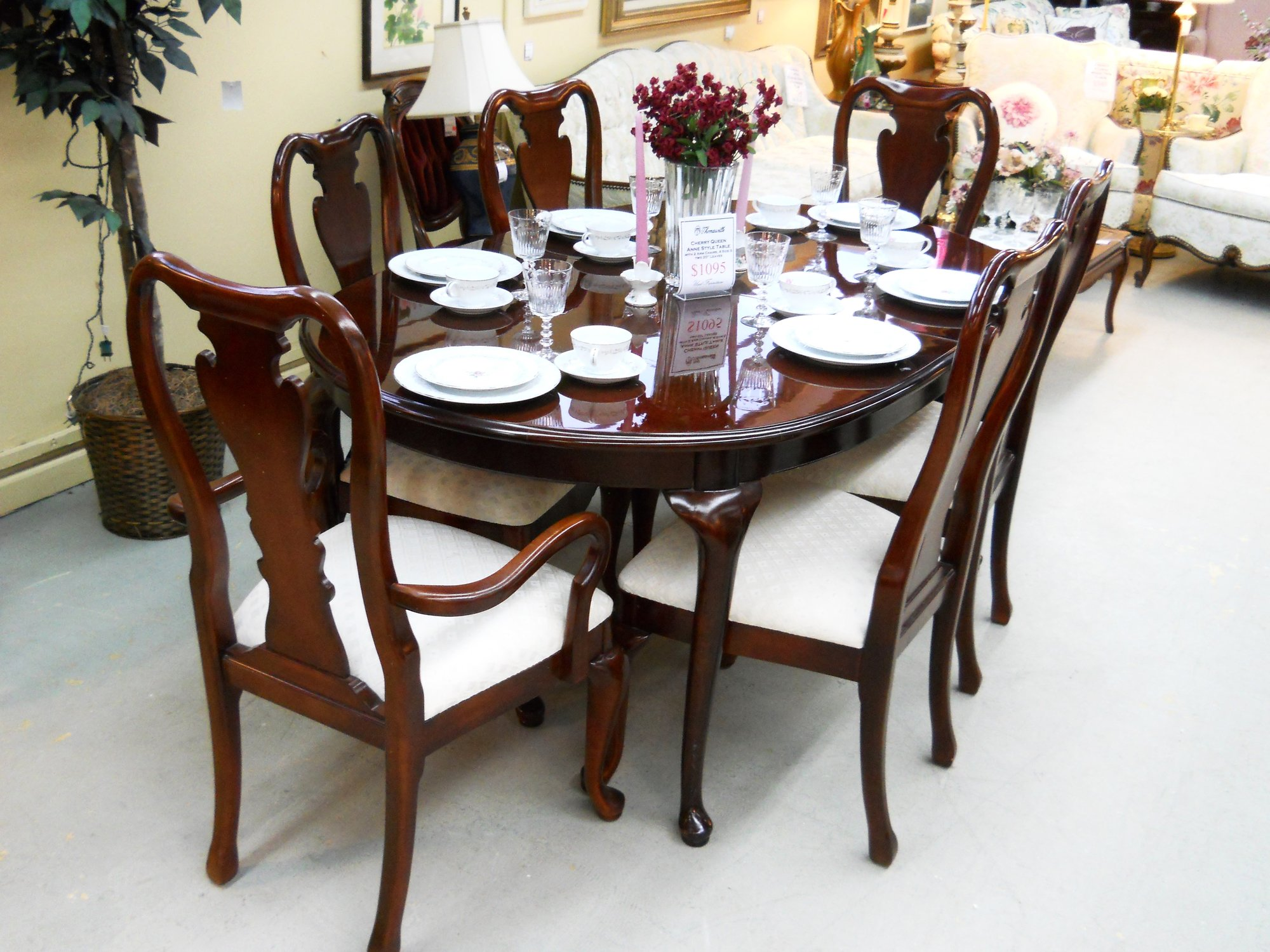 Thomasville dining table and 6 chairs with 2 leaves - Thomasville kitchen table ...