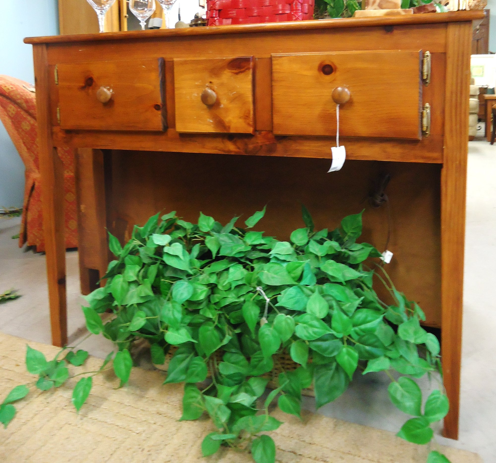 Used Furniture Gallery: 1-14233 Pine Sofa Table Is Sold