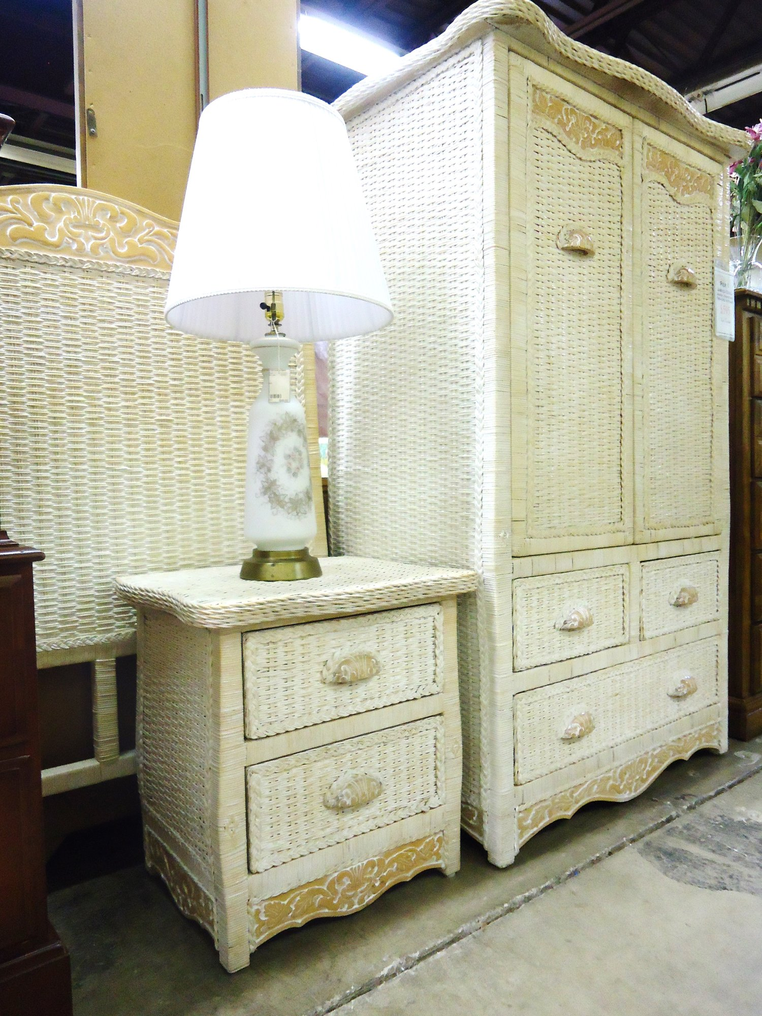 Pier One Whit Wicker Jamaica Armoire Nightstand And Twin