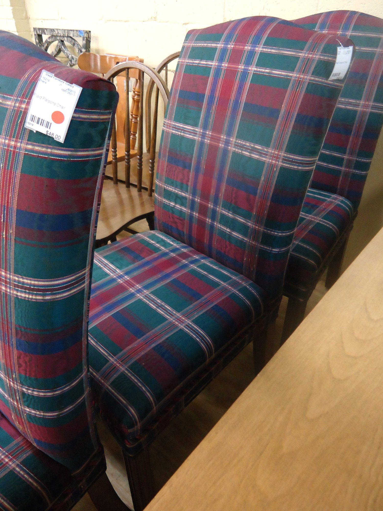 1 15221 Plaid Parsons Chair