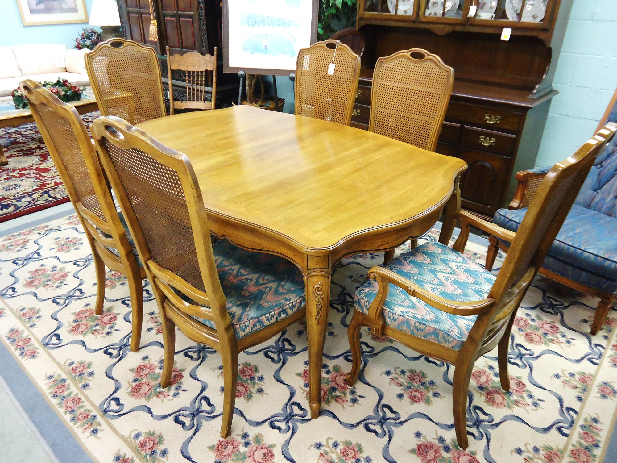 Thomasville camille dining table and 6 cane back chairs - Thomasville kitchen table ...