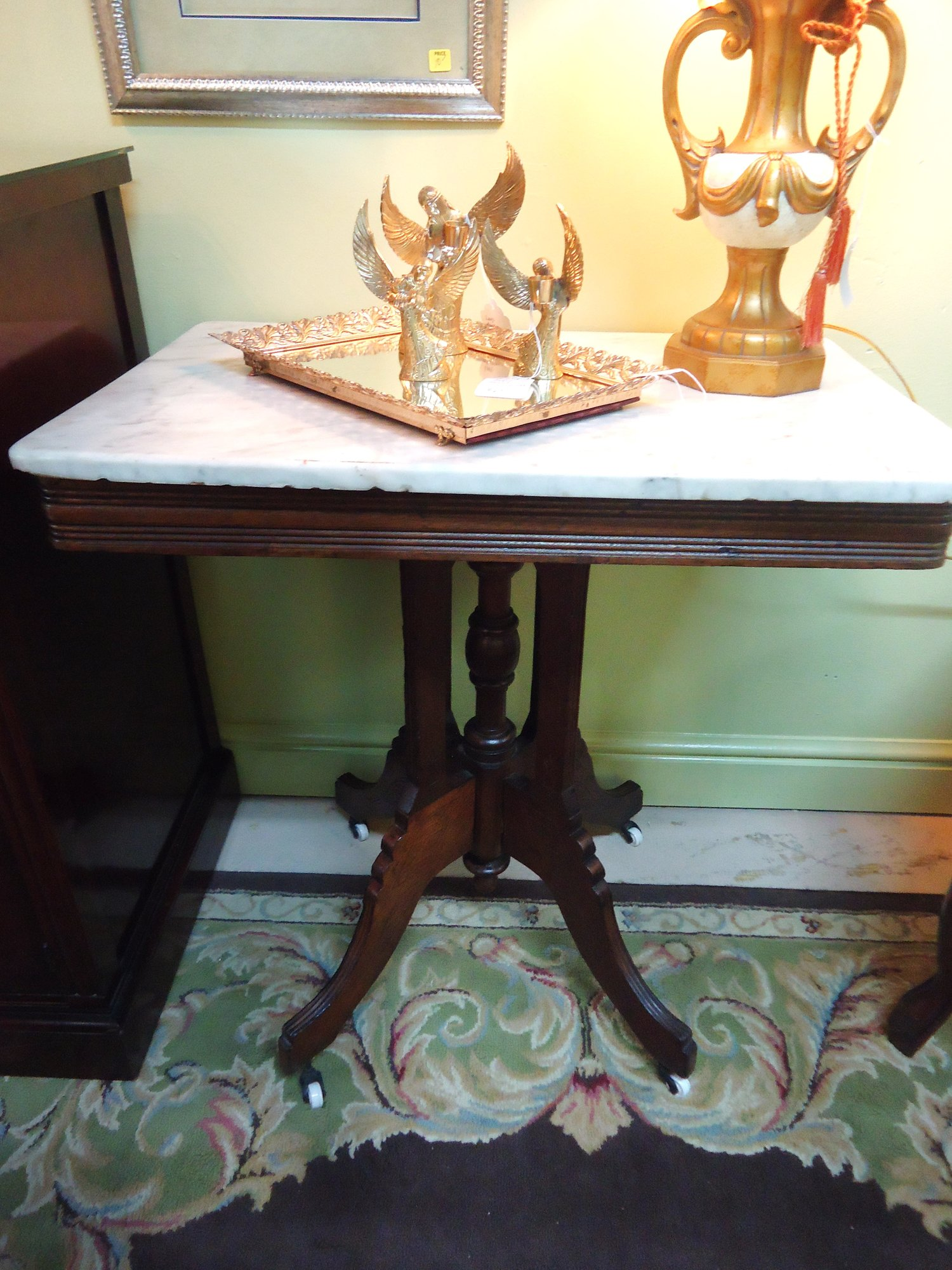 Victorian marble top table jpg - 1 16186 Antique 19th Century Victorian Marble Top Walnut Parlor Table