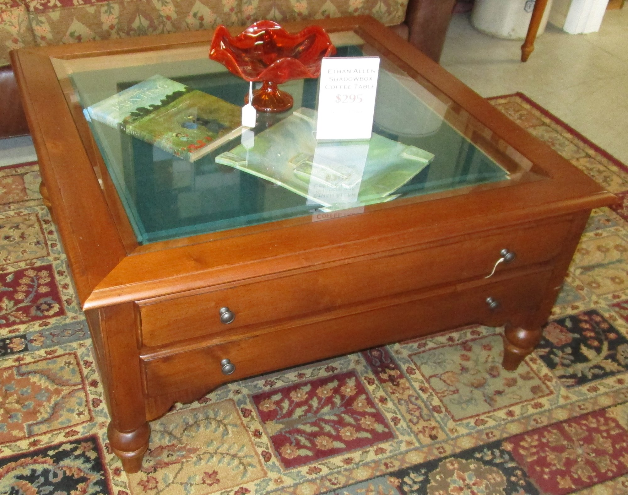 Used furniture gallery Glass box coffee table