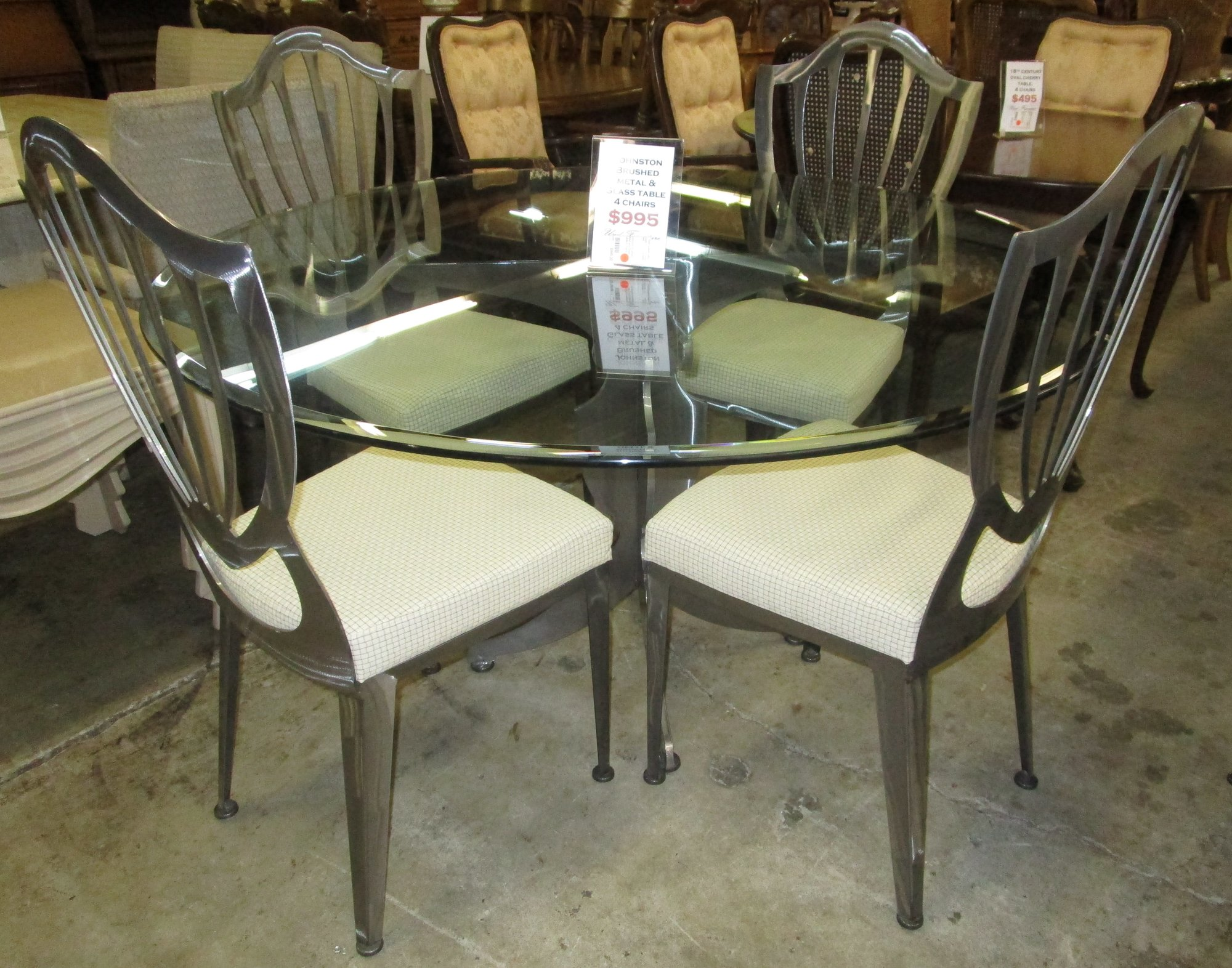 dining room kitchen kitchen table bakers 1 Johnston Brush Metal And Glass Table With 4 Chairs