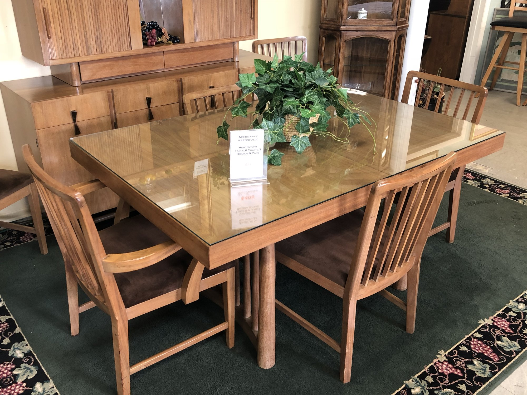 Used Furniture Gallery - Wooden dining room table with 6 chairs