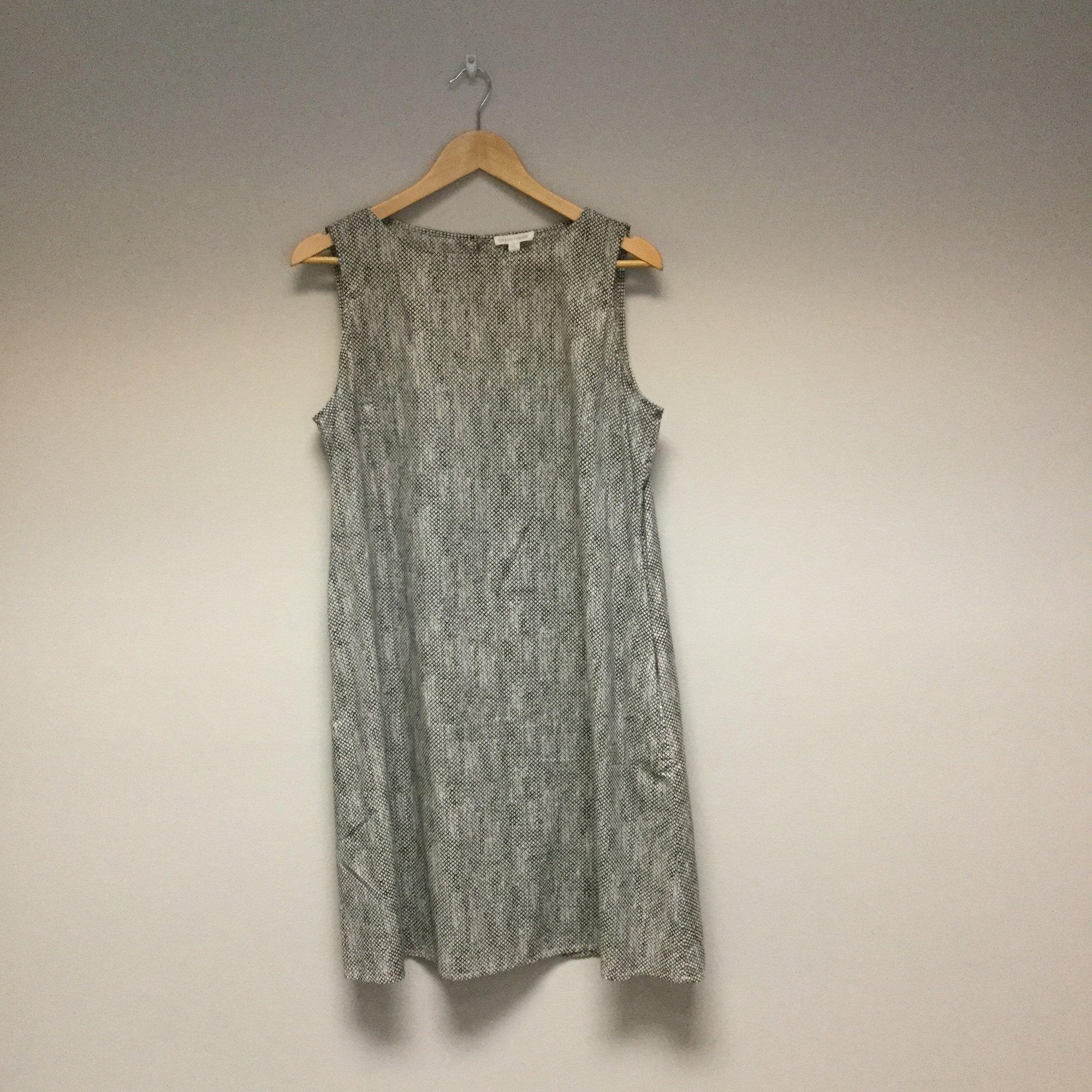 Eileen Fisher Fine Patterned Lines<br /> Size L<br /> Black/Creme<br /> $37.00