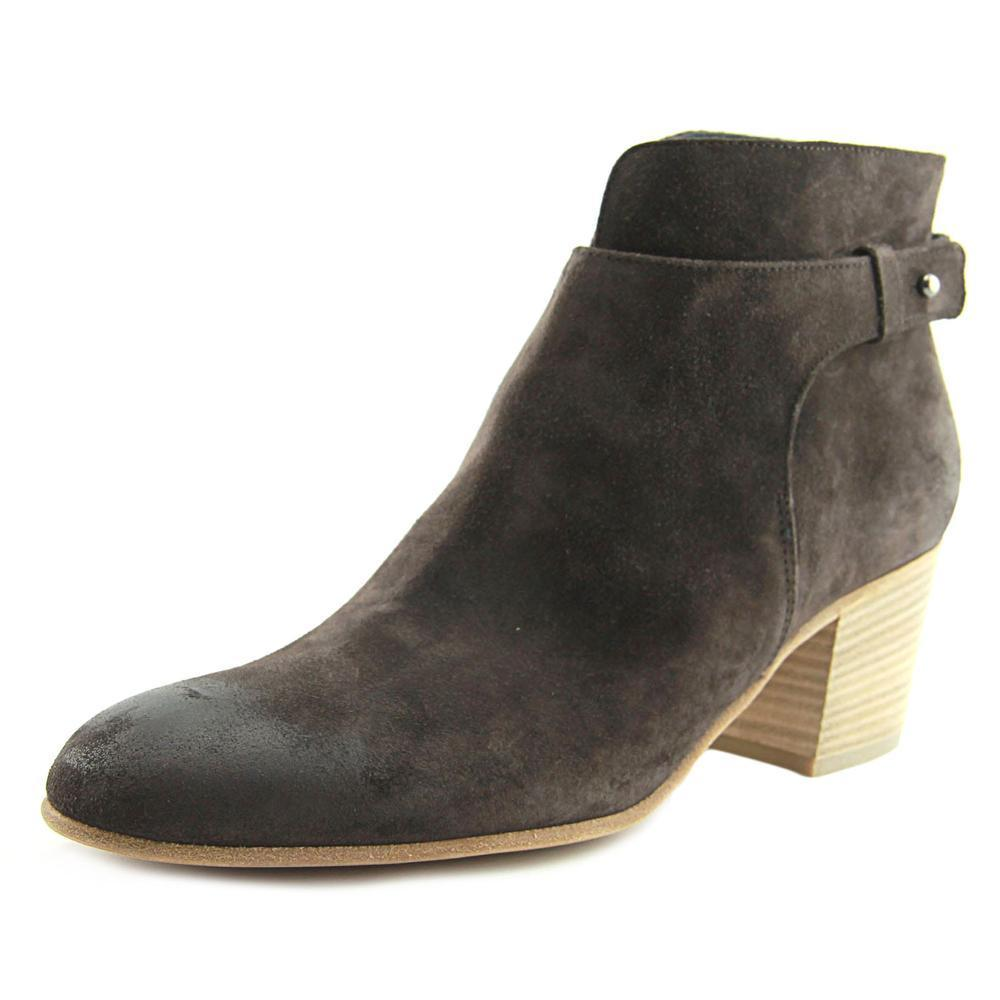 Vince Harriet Booties Color: Brown Suede Size 9.5 Orig. rtl: $395<br /> <br /> Clean curves define the modern, minimalist profile of a round-toe bootie grounded by a trend-savvy block heel.<br />     2&quot; heel; 4&quot; shaft (size 8.5).<br />     Pull-on style with adjustable push-tab strap.<br />     Suede upper, lining and sole.<br />     By Vince; made in Italy.
