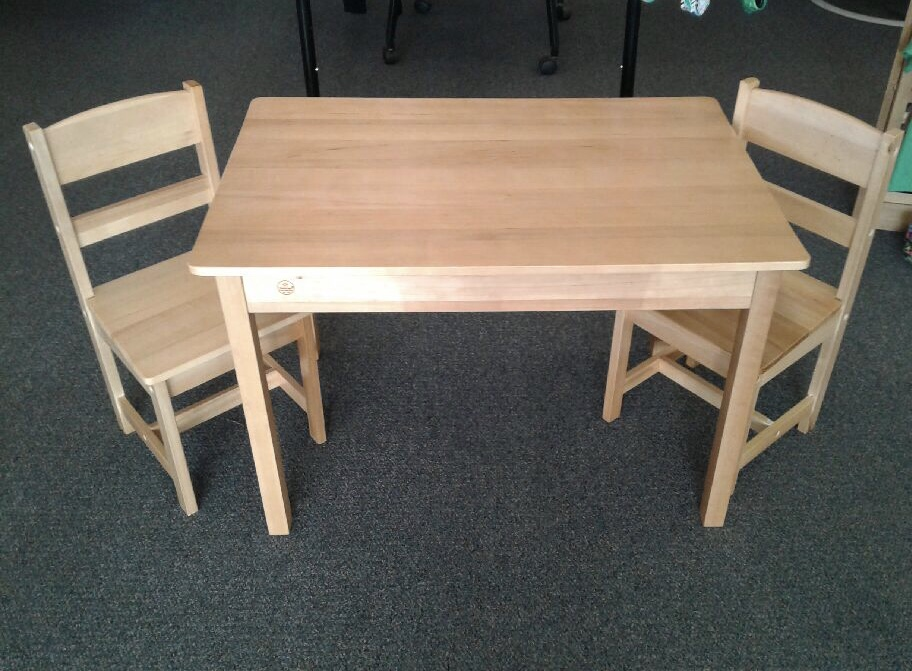 Rectangle Table w/2 Chairs. Very sturdy and in excellent condition.  Great for the grandparents house, daycare, church or your house!  NO SHIPPING-in store pick up only